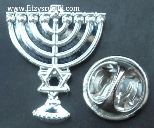 Menorah Lapel Hat Tie Pin Badge Hanukkah candelabrum & Star of David Brooch